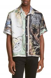 Givenchy Icarus Print Button-Up Silk Camp Shirt   Nordstrom at Nordstrom