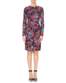 Givenchy Long-Sleeve Ruched Waist Floral Print Dress at Neiman Marcus