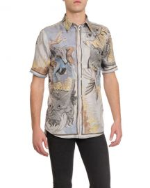 Givenchy Men  x27 s Silk Graphic Print Shirt at Neiman Marcus