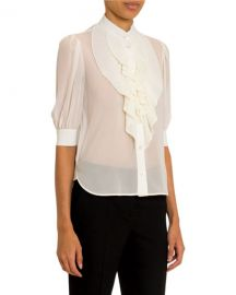 Givenchy Ruffled-Front Silk Button-Front Shirt at Neiman Marcus