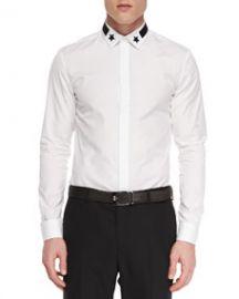 Givenchy Star-Detail Hidden-Placket Shirt at Neiman Marcus