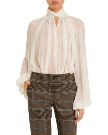 Givenchy Twisted Keyhole-Neck Blouse at Neiman Marcus