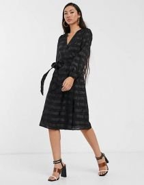 Glamorous midi wrap dress with volume sleeves in organza check   ASOS at Asos