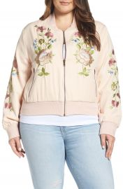 Glamorous Floral Embroidered Bomber Jacket  Plus Size at Nordstrom