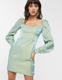 Glamorous mini dress with structured bust in metallic taffeta at ASOS