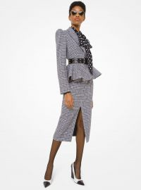 Glen Plaid Wool Peplum Jacket at Michael Kors