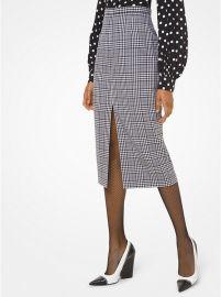Glen Plaid Wool Slit-Front Pencil Skirt by Michael Kors at Michael Kors