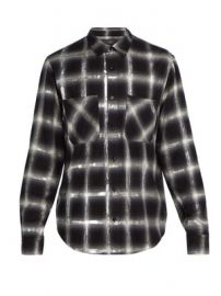 Glitter-embellished plaid cotton shirt at Matches