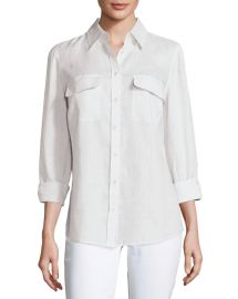 Go Silk Petite Long-Sleeve Button-Front Linen Top at Neiman Marcus