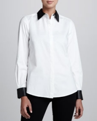 Go Silk Shirt with Faux Leather Trim Womens at Neiman Marcus