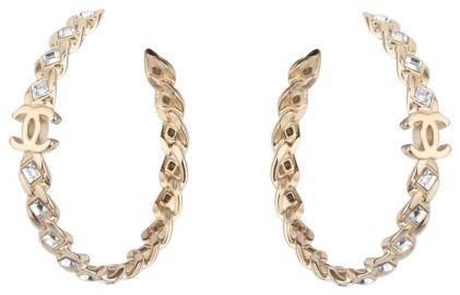 Gold Crystal Cc Hoop Earrings at Chanel
