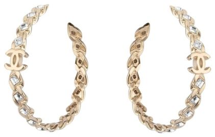 Gold Crystal Cc Hoop Earrings by Chanel at Chanel