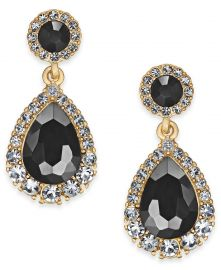 Gold-Tone Crystal & Stone Drop Earrings at Macys