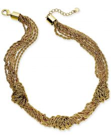 Gold-Tone Multi-Chain Knotted Collar Necklace at Macys