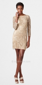 Gold longsleeved dress at Edressme