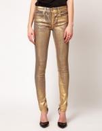 Gold metallic jeans at ASOS at Asos