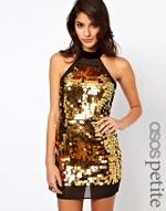 Gold sequin halter dress at Asos