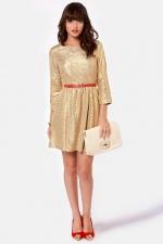 Gold skater dress at Lulus at Lulus