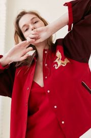 Golden Dragon Embroidered Baseball Coach Bomber by Urban Outfitters at Urban Outfitters
