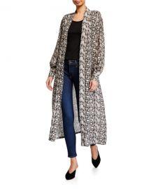 Good American Python-Print Sheer Chiffon Kimono Jacket - Inclusive Sizing at Neiman Marcus