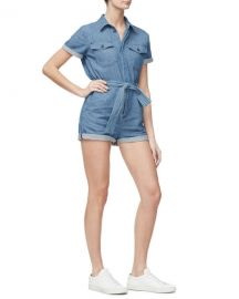 Good American Short-Sleeve Denim Romper - Inclusive Sizing at Neiman Marcus