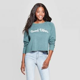 Good Vibes Cropped Graphic Sweatshirt by Target at Target