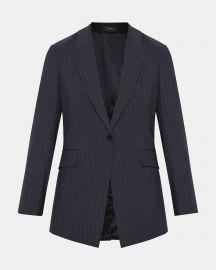 Good Wool Pinstripe Long Blazer at Theory