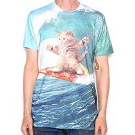 Goodie Two Sleeves Pizza Surfing Cat T Shirt - All-Over Print at Amazon