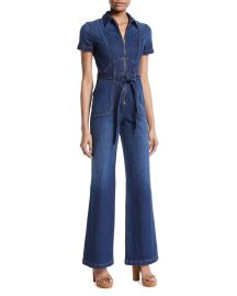 Gorgeous Wide-Leg Fitted Denim Jumpsuit at Neiman Marcus