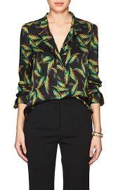 Gosford Palm-Leaf-Print Silk Blouse at Barneys