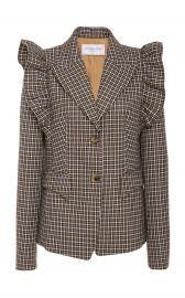 Graphic Check Wool Ruffle-Shoulder Blazer  at Michael Kors