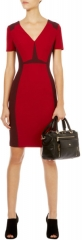 Graphic Colorblock Dress in Red at Karen Millen