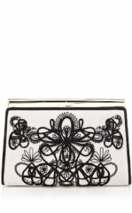 Graphic lace embroiderey clutch at Karen Millen