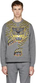 Gray Geo Tiger Sweatshirt by Kenzo at Ssense