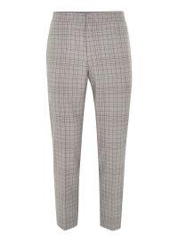 Gray Grid Check Slim Cropped Dress Pants at Topman
