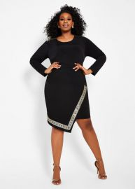 Greek Key Trim Faux Wrap Dress by Ashley Stewart at Ashley Stewart