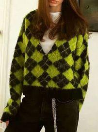 Green Argyle Print Long Sleeve Cardigan at Choies