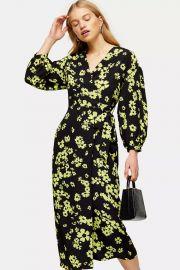 Green Daisy Print Drama Sleeve Wrap Dress at Topshop
