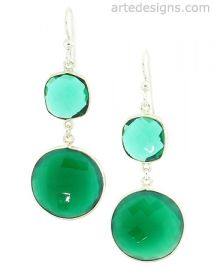 Green Onyx and Quartz Earrings at Arte Designs