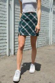 Green Plaid Skirt at Brandy Melville