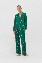 Green Silk Star Pyjama Set at Chinti and Parker