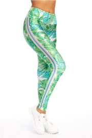 Green Stripe Palm Leggings by Goldsheep at Goldsheep