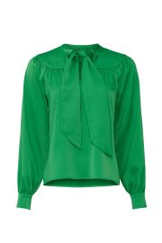 Green Tie Neck Blouse at Rent the Runway
