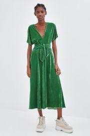 Green Velvet Tie Dress by Zara at Zara