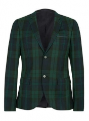 Green and Navy Check Suit Jacket at Topman