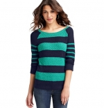 Green and blue striped sweater at Loft at Loft