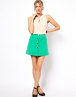 Green button front skirt at ASOS at Asos