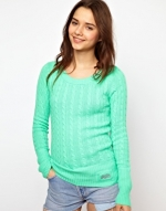 Green cable knit sweater at Asos
