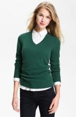 Green cashmere v neck sweater at Nordstrom