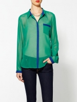 Green contrast trim shirt at Piperlime